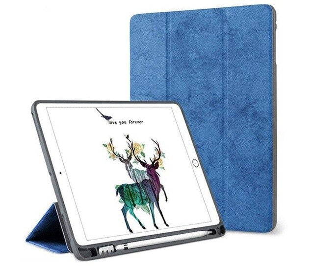 Ultra-thin Retro Denim Leather New iPad mini 5 7.9 Inch 2019 iPad Mini 4 Case With Pencil Holder - Casebuddy