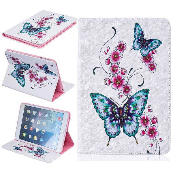 Butterfly Print PU Leather Case iPad 7 6 5 4 3 2 Air 3 2 1 Mini 4 3 2 Folio Stand Wallet Cover - Casebuddy