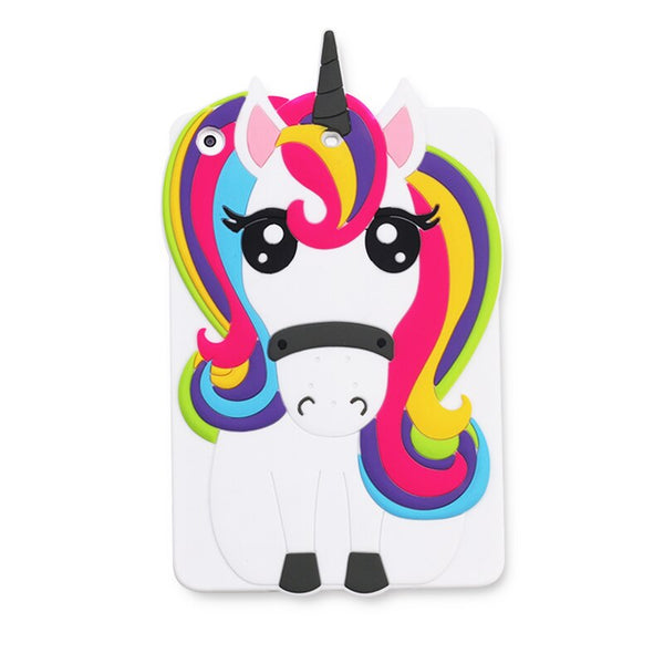 iPad Mini 1 2 3 3D Cute Lovely Rainbow Unicorn Horse Cartoon Soft TPU Cover iPad 2 3 4 5 6 Protective Cover - Casebuddy