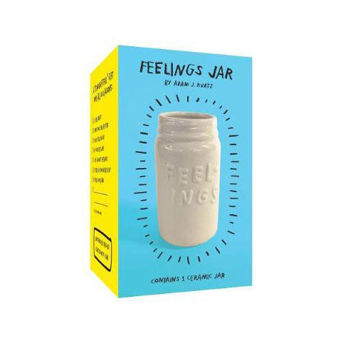 "Gloss white ceramic jar, with embossed ""feelings"" text, in a blue and yellow packaging box."