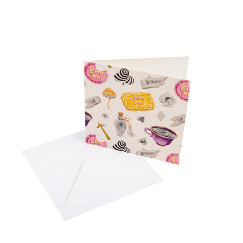 Wonderland - Symbols Motif - Square Greetings Card