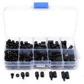 300pcs M3 Nylon Black Hex Screw Nut Spacer Stand-off Varied Length Assortment Kit Box