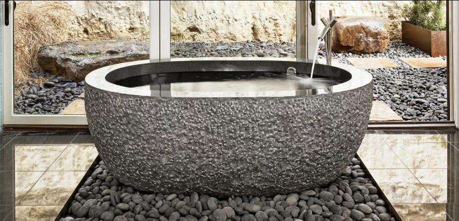 NORTHERN SOLID BLACK Basalt rough picked exterior, Oval-In - Bathtub Series