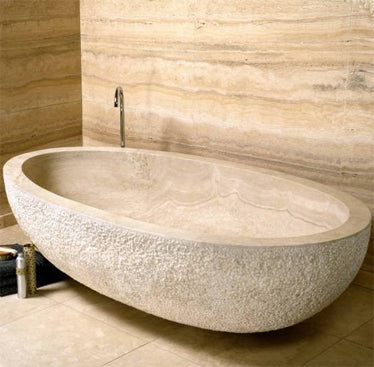 IVORY CROSS CUT Travertine Honed/Filled interior & Large Chiseled/Filled exterior, Elongated ORock, eased edge - Bathtub Series