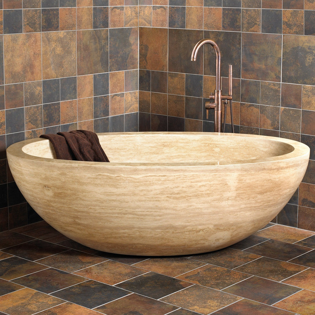 IVORY VEIN CUT Travertine Honed/Filled, ORock1, eased edge - Bathtub Series
