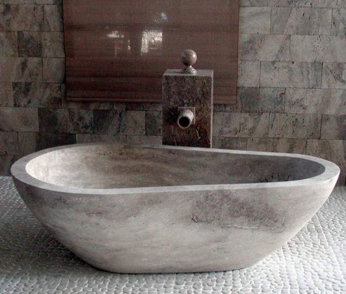 SILVER Travertine Honed/Filled, Oval, eased edge - Bathtub Series