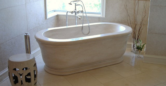 SUGAR WHITE Marble Honed/Polished, Rectangle-Round, waterfall edge - Bathtub Series