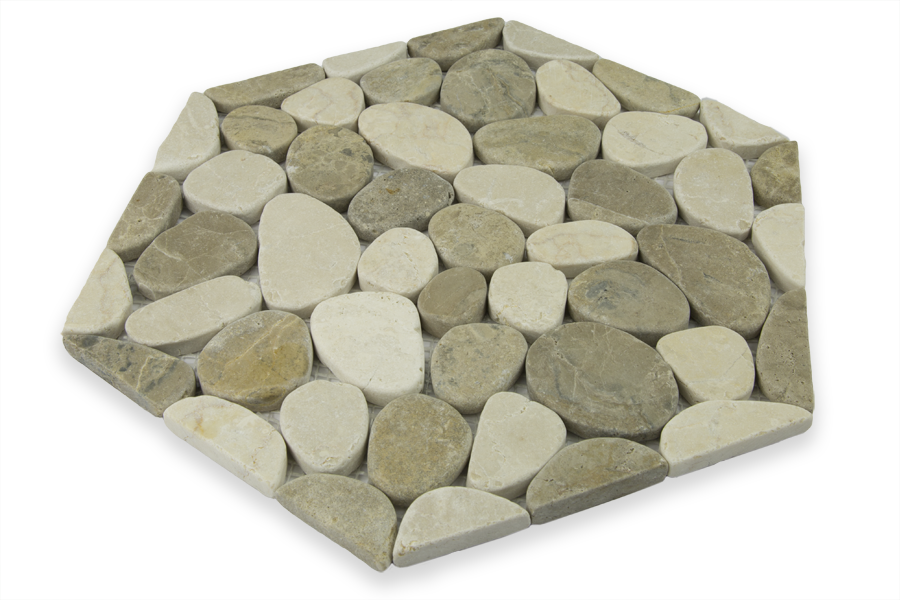 BEIGE & TAN MARBLE MIX, HONEYCOMB COBBLES - Island, Random Series (MINIMUM ORDER REQUIRED OF 250 SF)