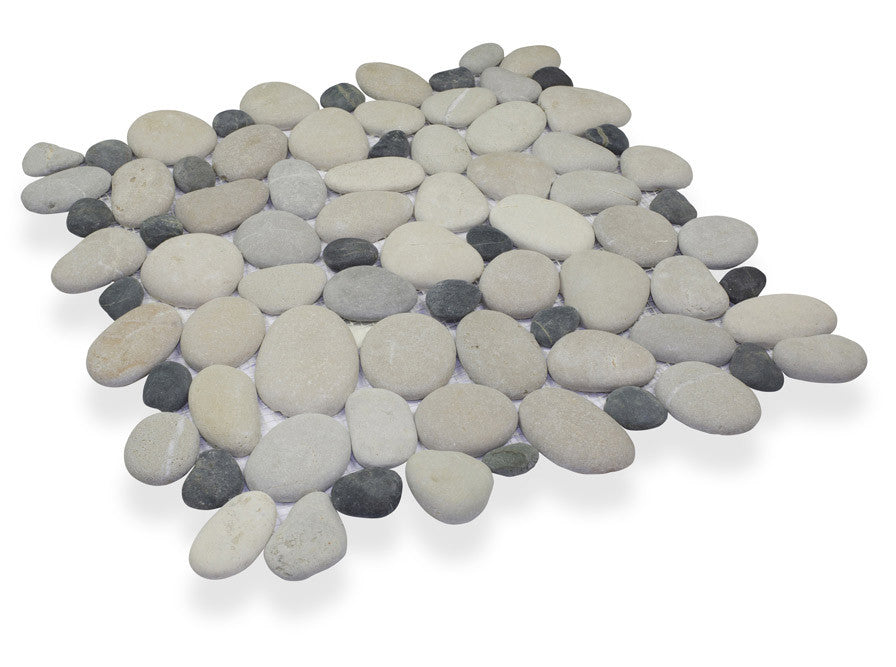 FRENCH TAN/MEDAN CHARCOAL, CELESTIAL PEBBLE - Island, Pebble Series (MINIMUM ORDER REQUIRED OF 250 SF)