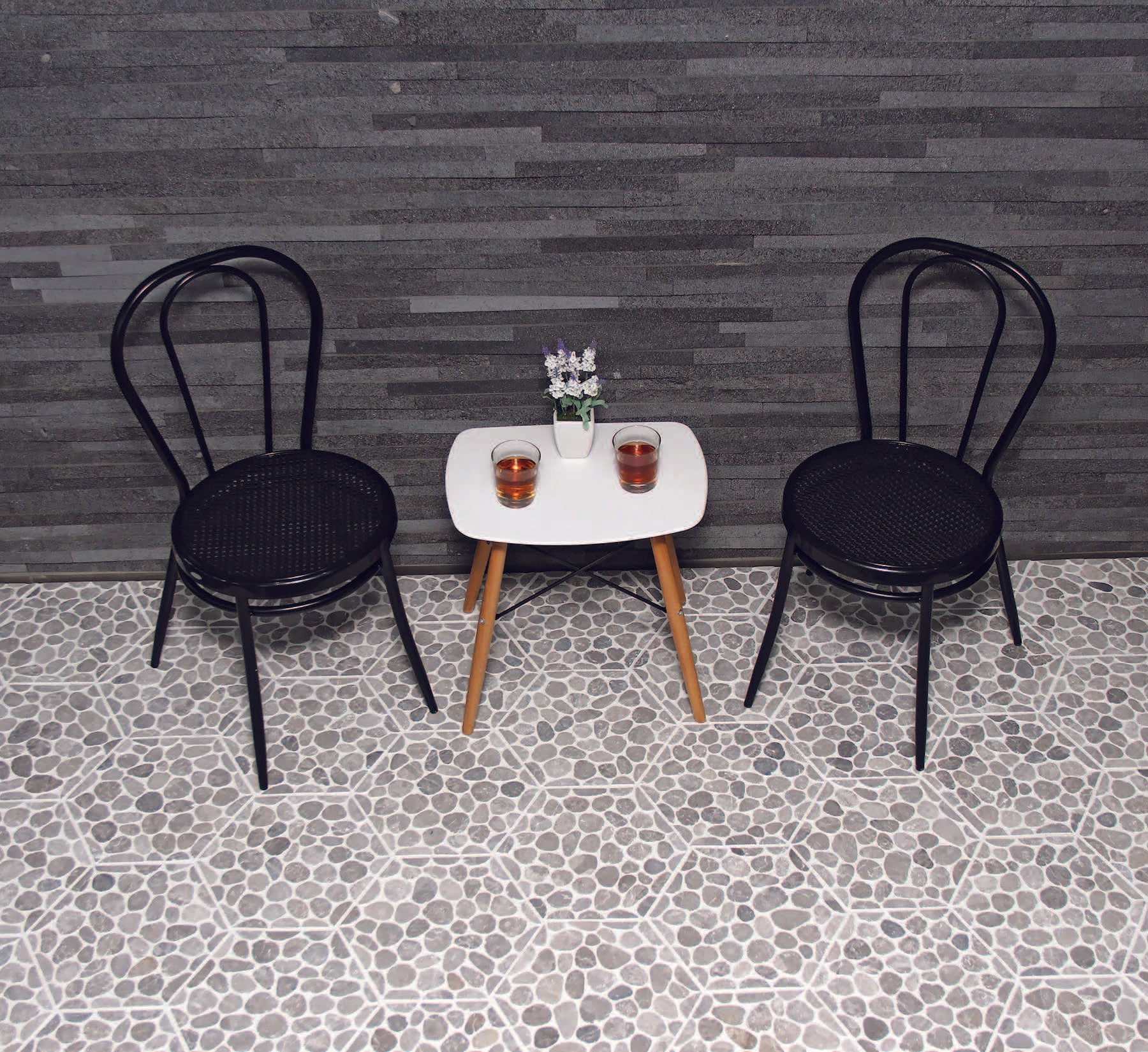 TAN MARBLE, HONEYCOMB COBBLES - Island, Random Series (MINIMUM ORDER REQUIRED OF 250 SF)