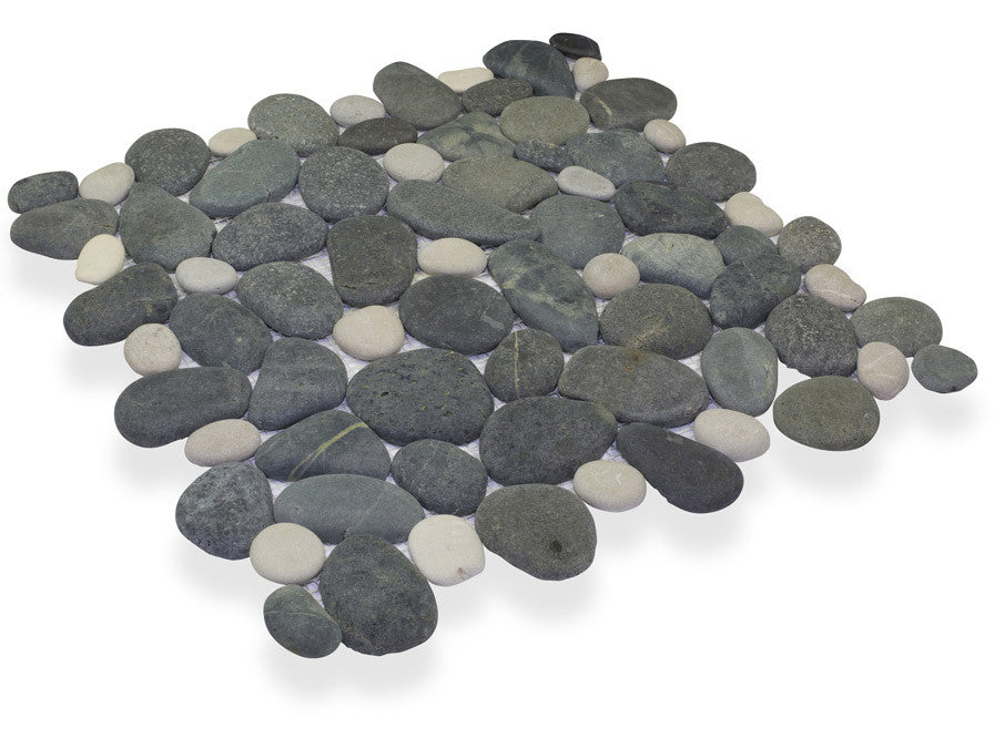 MEDAN CHARCOAL/FRENCH TAN, CELESTIAL PEBBLE - Island, Pebble Series (MINIMUM ORDER REQUIRED OF 250 SF)