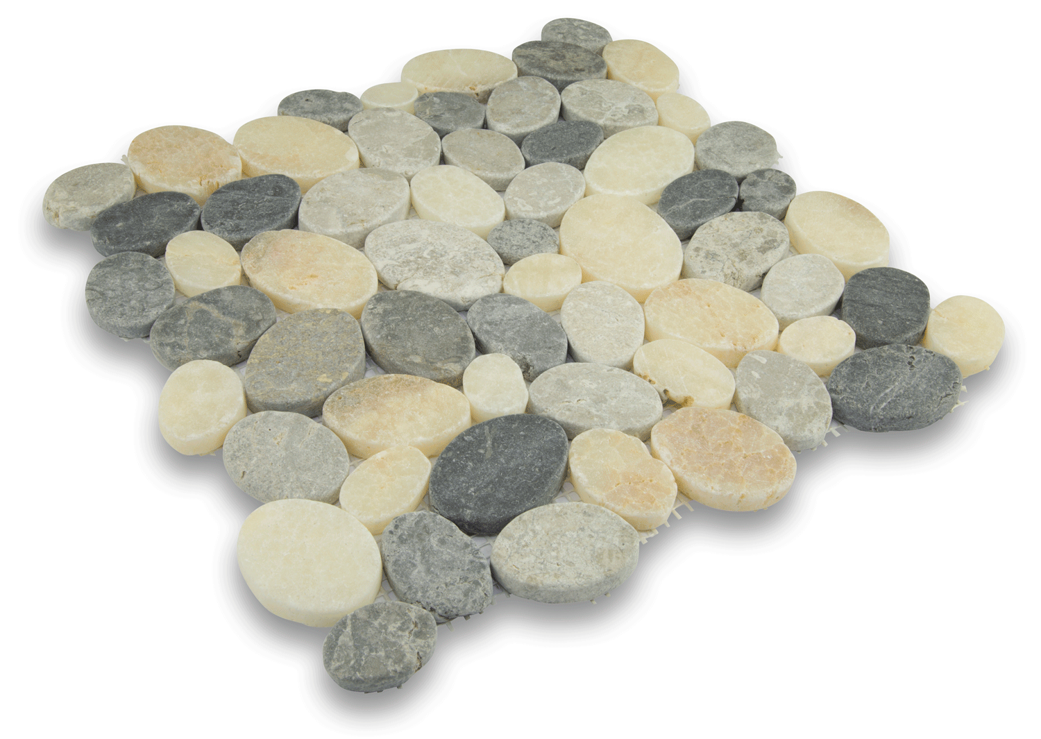 MULTI GREY & QUARTZ MIX, RANDOM COBBLES- Island, Random Series