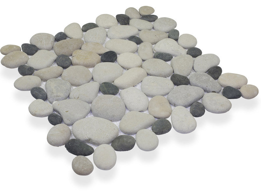 TIMOR WHITE/MEDAN CHARCOAL, CELESTIAL PEBBLE - Island, Pebble Series (MINIMUM ORDER REQUIRED OF 250 SF)