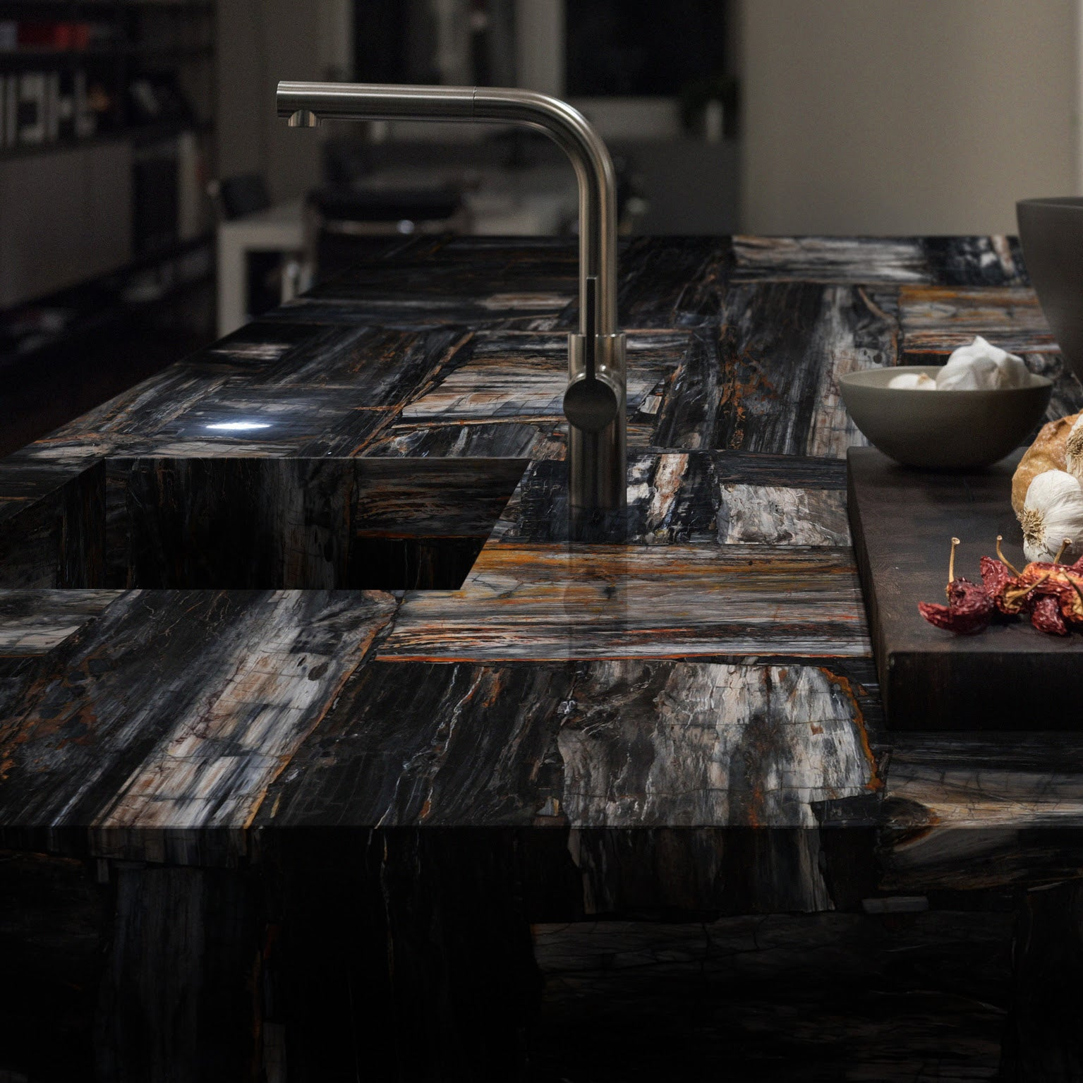 BLACK RETRO Petrified Wood - Slab Series