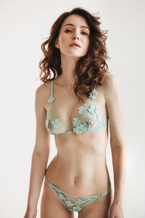 Ornella with 3D flowers turquoise Lingerie Set