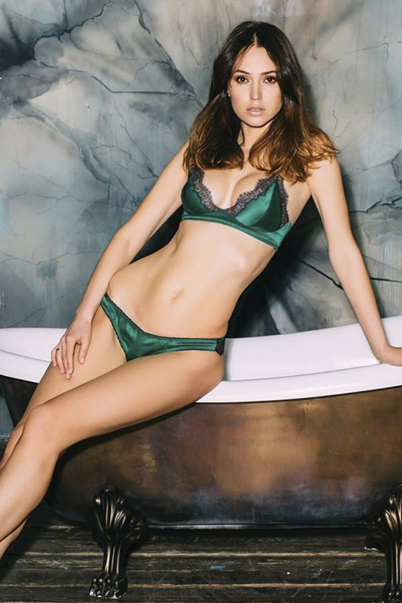 Gigi silk with lace emerald Lingerie Set