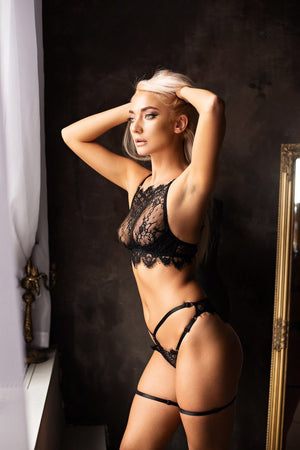 Black swan Luxury halter lingerie set