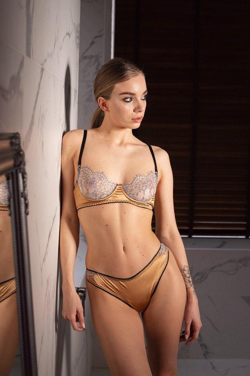 Sexy Goddess Gold Bra Panty Set