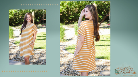 Striped Dress with Wedges