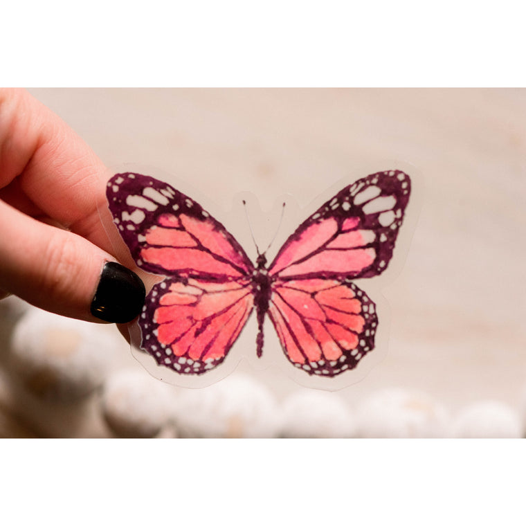 Red Butterfly Clear Vinyl Sticker
