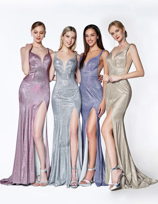 KC876 Prom Dress Metallic Rose