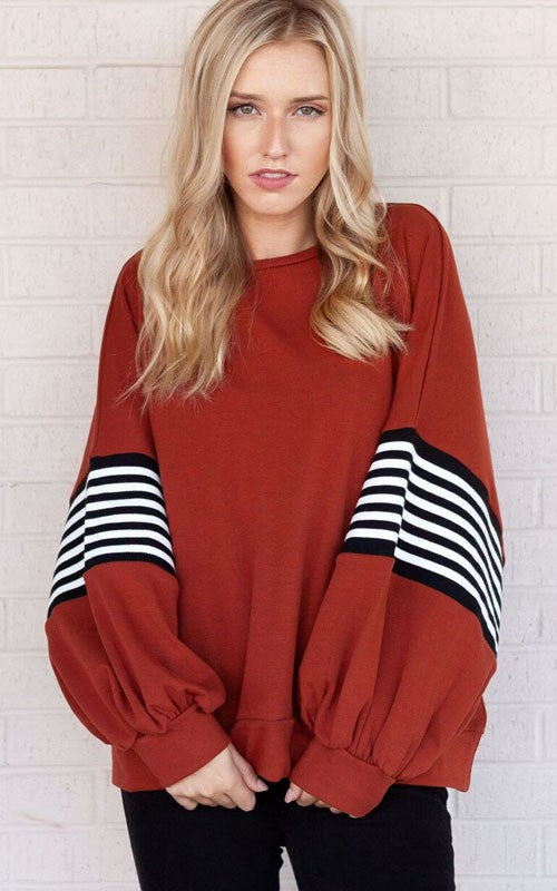 Aubrianna Striped Band Sleeve Top