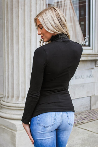 Avery Funnel Neck Top Black