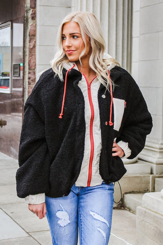 Jilian Oversized Sherpa Jacket Black