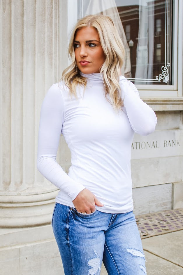 Avery Funnel Neck Top White