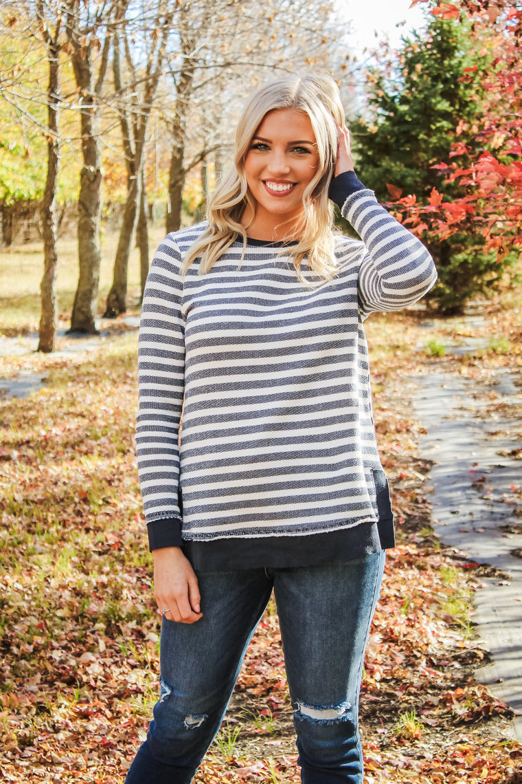 Malia Striped Top Navy