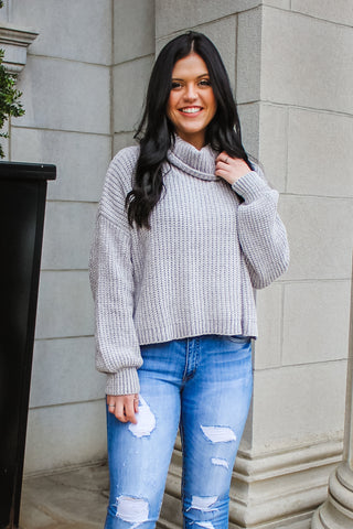 Maria Turtle Neck Sweater Lt Grey