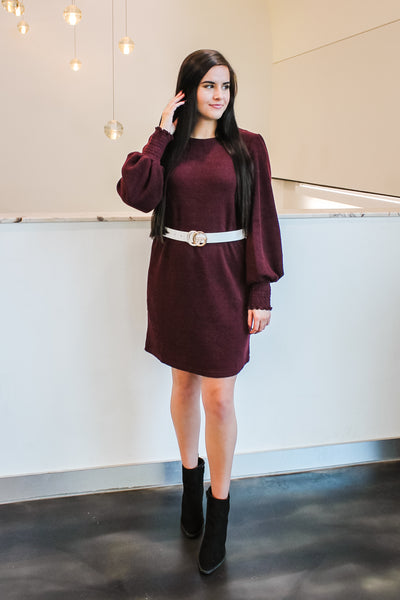Abby Knit Sweater Dress Wine