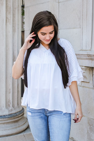 Juniper Pleated Top Ivory