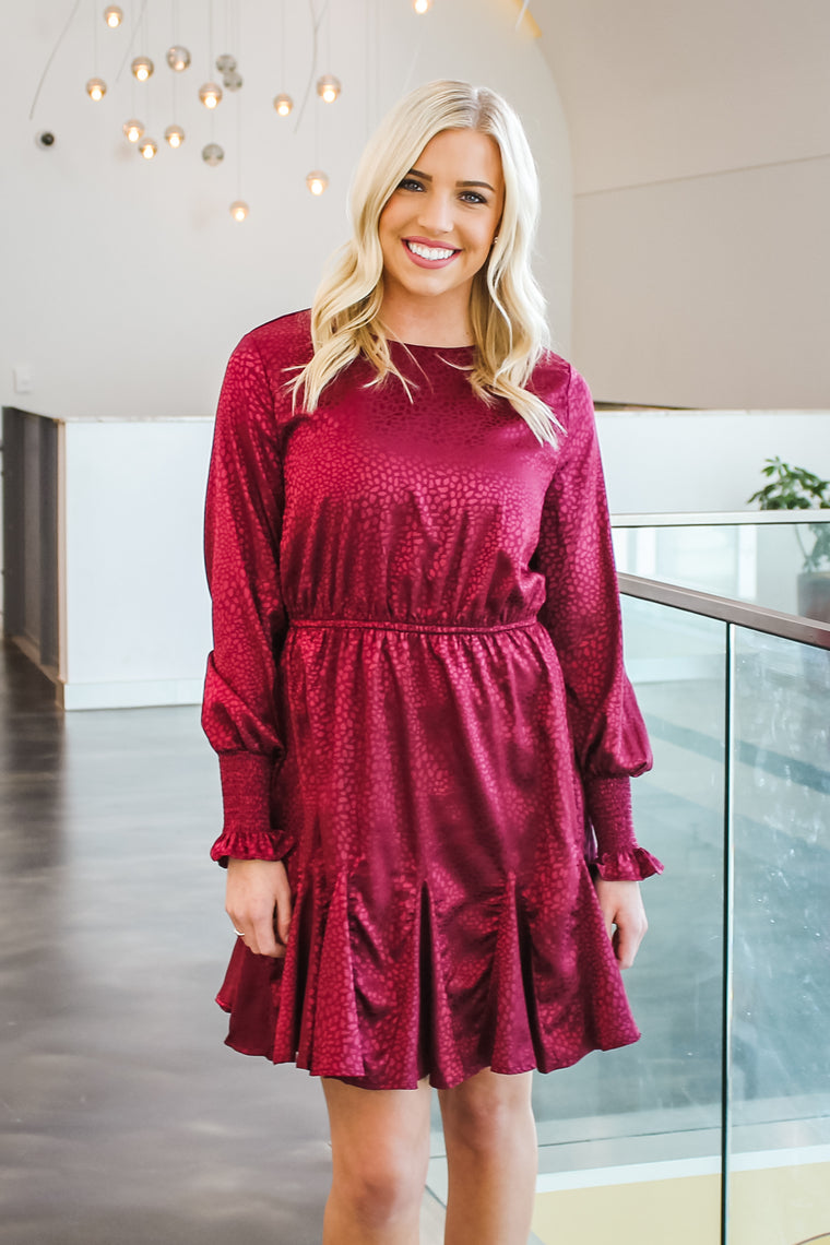 Suzan Smocked Sleeve Dress Wine