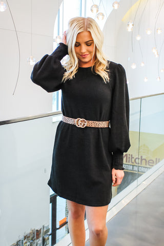 Abby Knit Sweater Dress Black