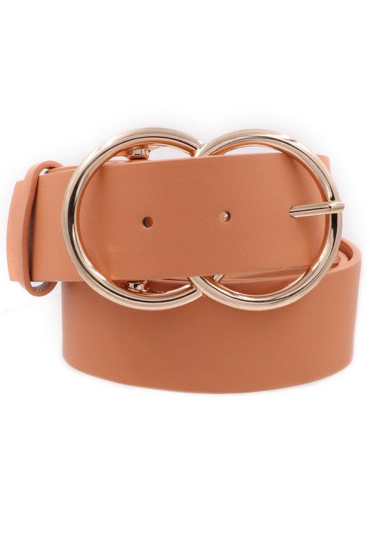 Faux Leather Metal Ring Belt