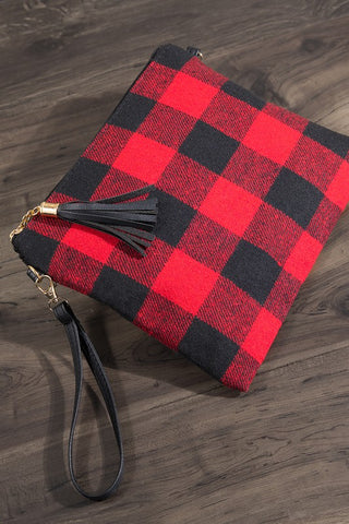 Plaid Wristlet/Crossbody Bag