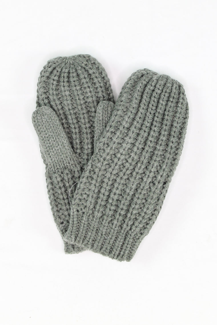 Allie Chunky Knit Mittens Grey