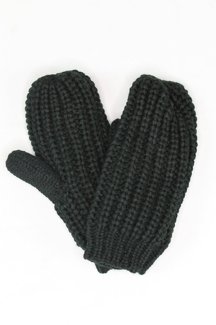 Allie Chunky Knit Mittens Black