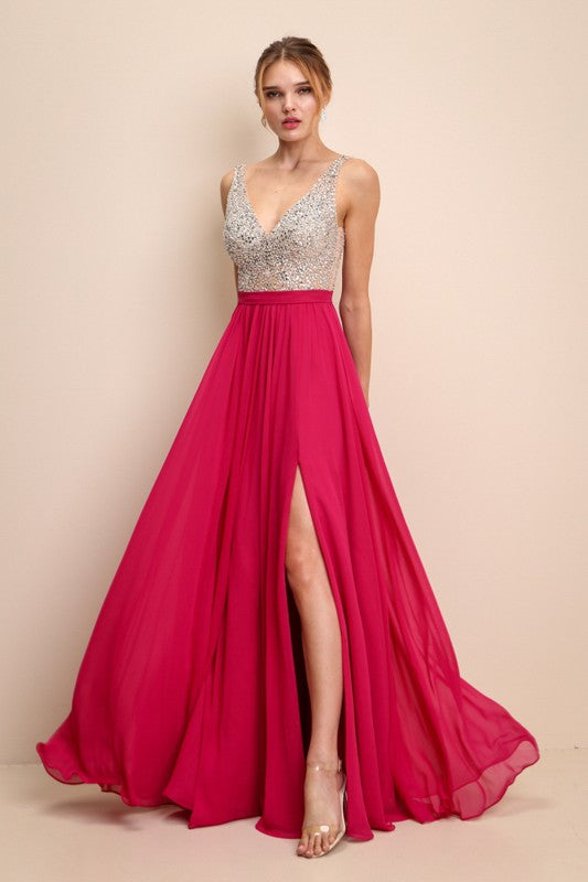 W19230 Prom Dress Fuschia