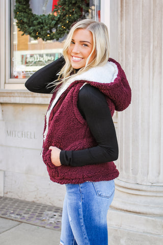 Stephanie Sherpa Vest Wine