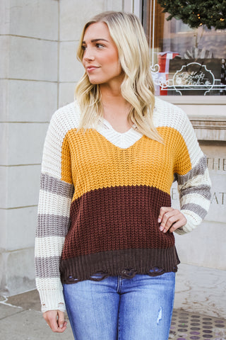 Aurora Distressed Striped Sweater