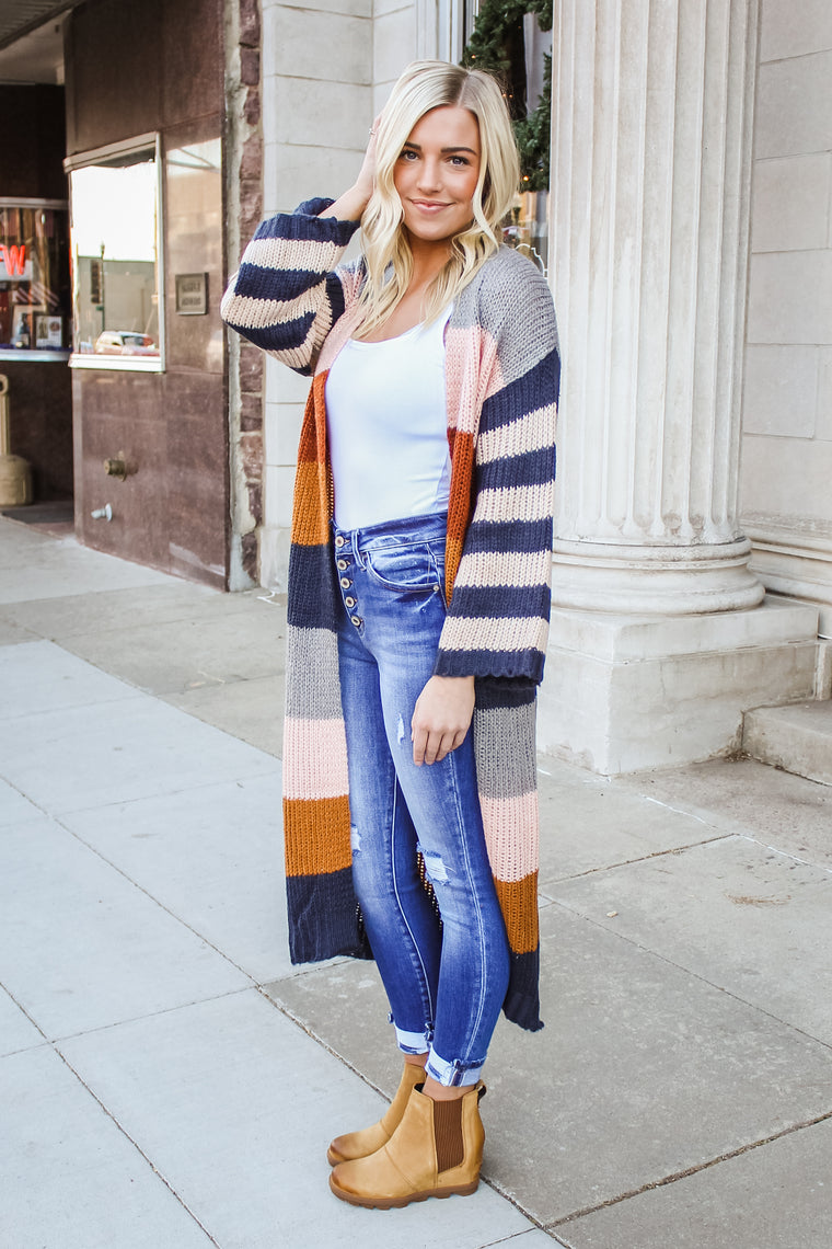 Lilliana Stripe Sweater Cardigan