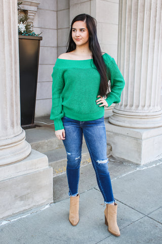 Jenn Off Shoulder Sweater Kelly Green