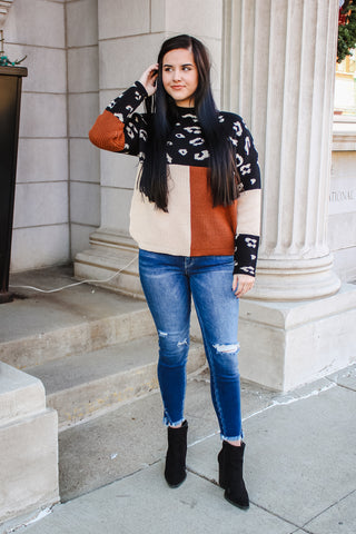 Sage Leopard Colorblock Sweater