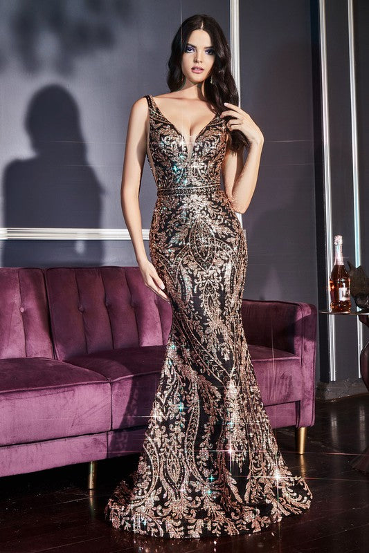 J811 Prom Dress Gold/Black