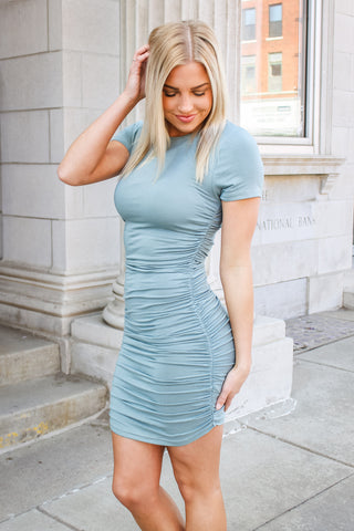 Tori Fitted Dress Blue Gray
