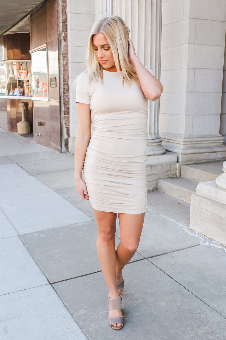 Tori Fitted Dress Sand