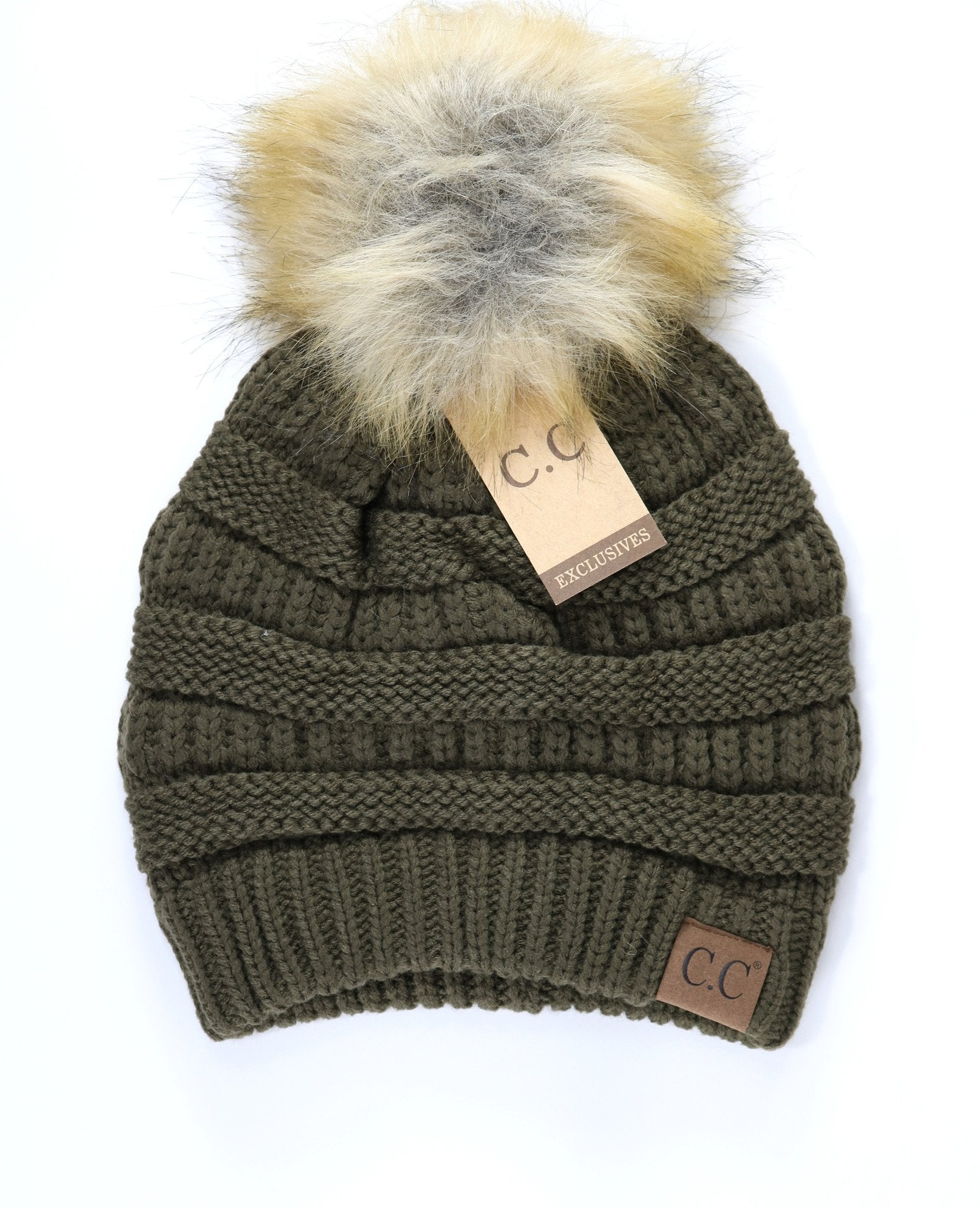 Fur Pom CC Beanie - Tickled Pink Boutique Mitchell