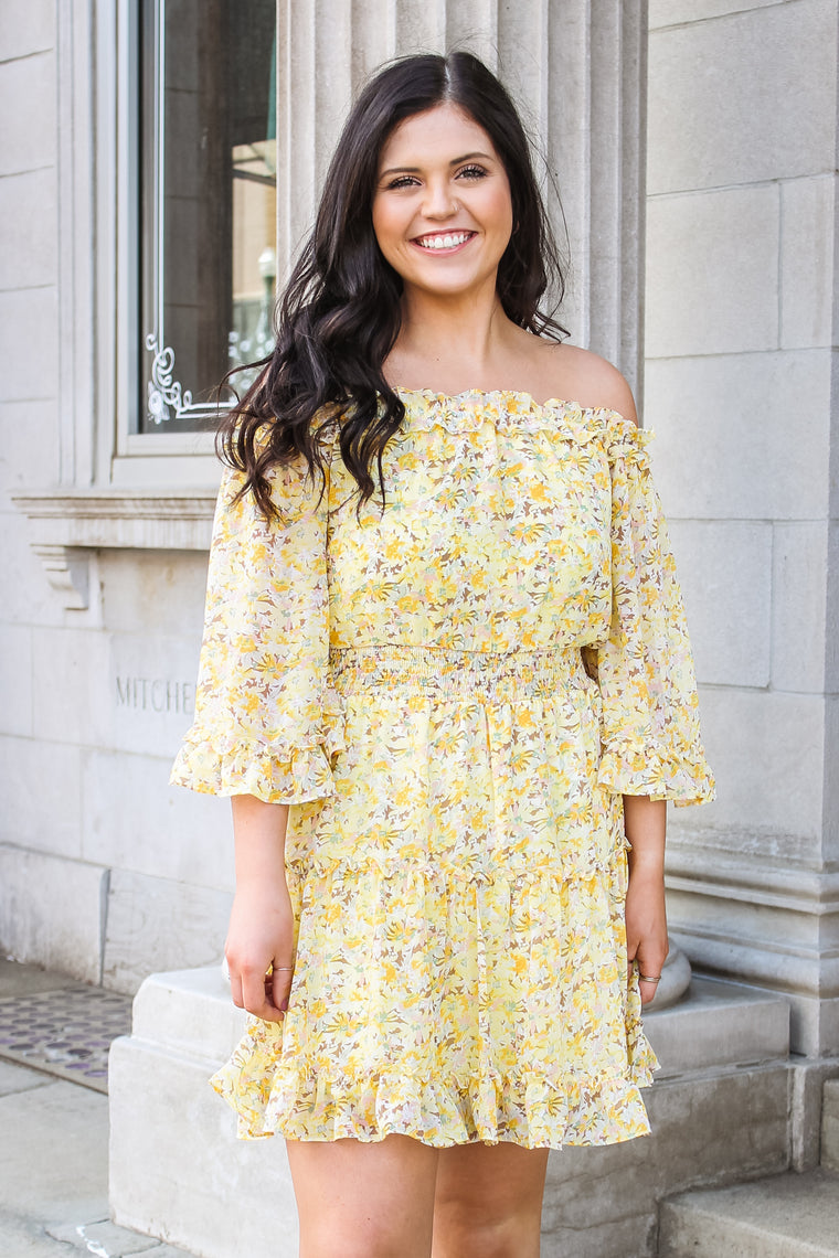 Laura Flutter Sleeve Off The Shoulder Dress